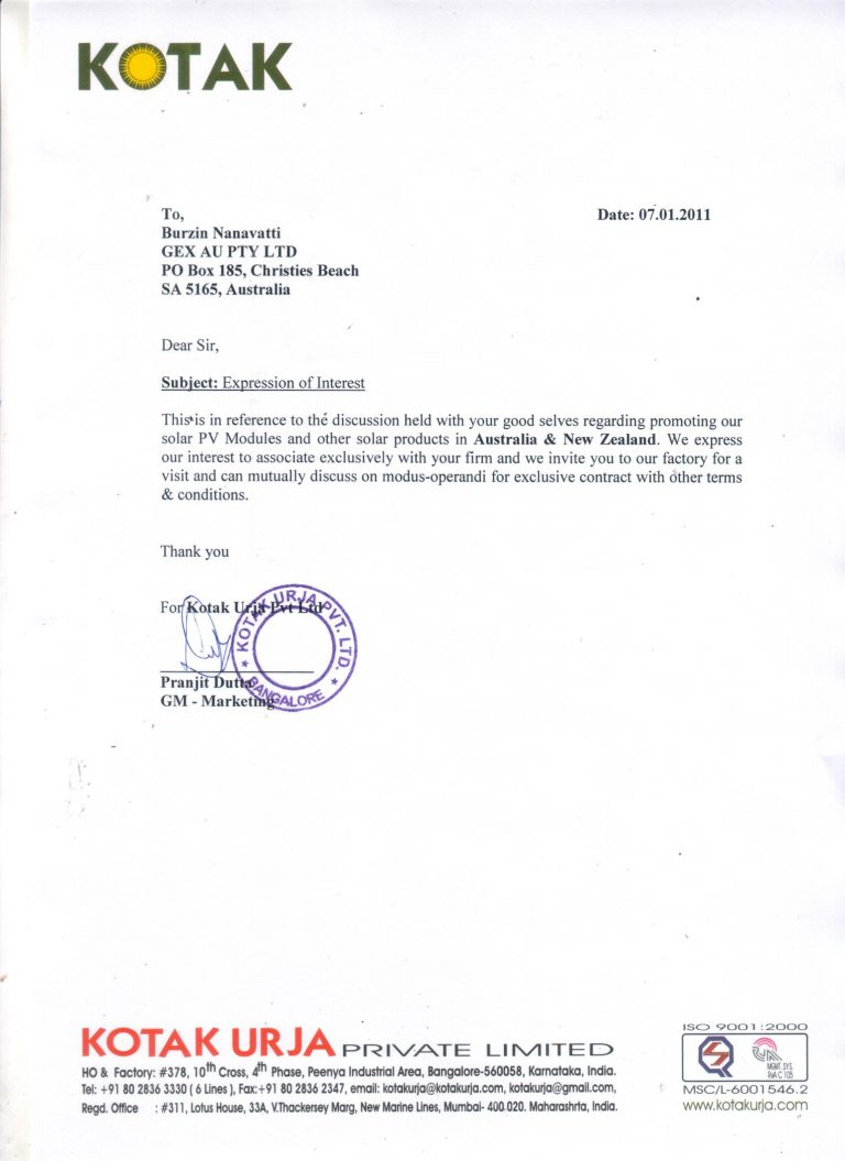 Letter of Mandate and Achievement from Kotak Solar, a division of the Kotak Group of Companies given by Sunil Kotak, CEO & Executive Director.