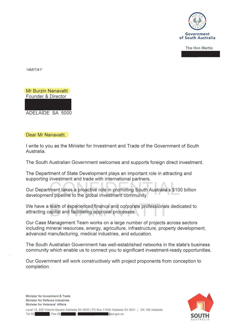 Letter of Support from Hon Martin Hamilton-Smith MP, Minister of Investment and Trade, Government of South Australia
