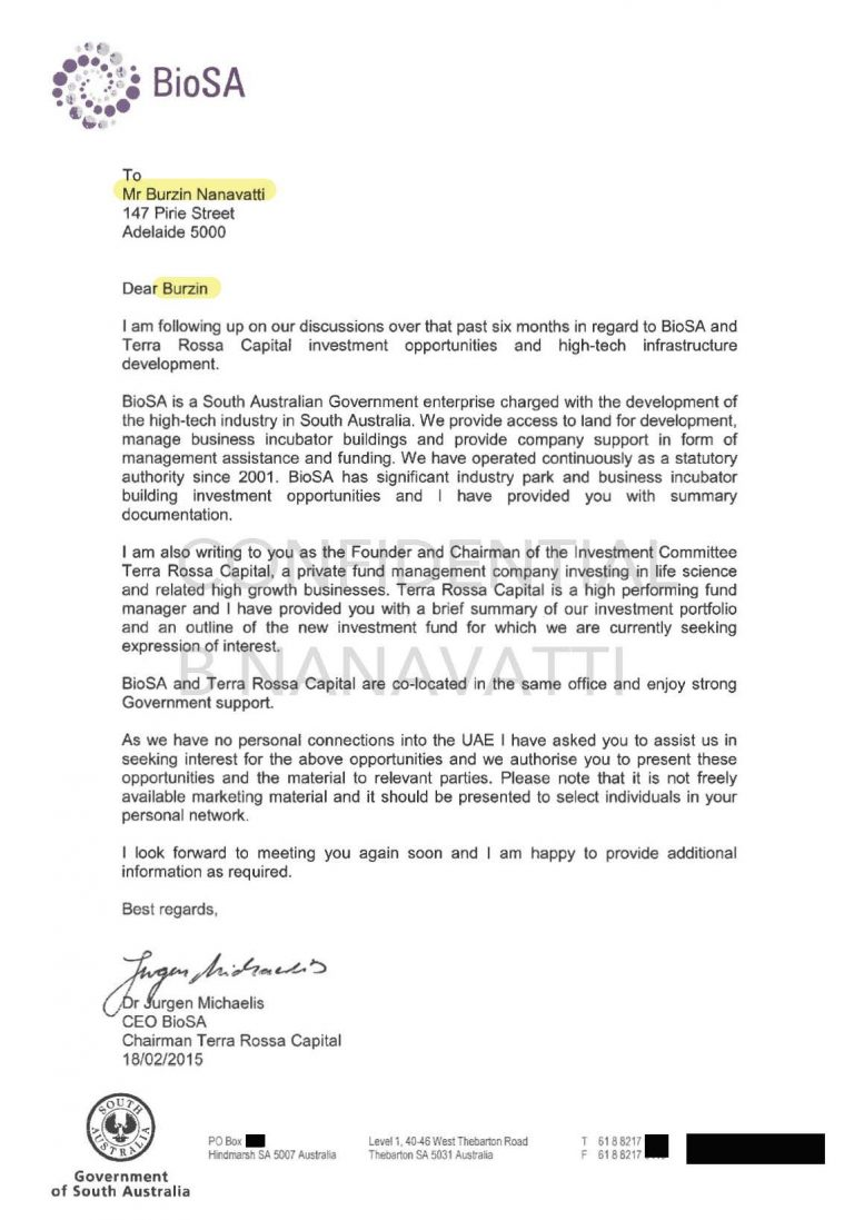 Letter of association from Dr Jurgen Michaelis, CEO BioSA, Government of South Australia